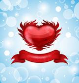 Rotes Herz auf blauer Himmel Hintergrund zum Valentinstag — Stockvektor