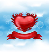 Red heart on blue sky background for Valentine's day — Stock Vector