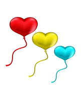 Colourful hearts balloons isolated on white background — Stock Vector