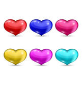 Set colorful hearts isolated on white background — Stock Vector
