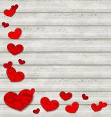 在木制的背景上设置弄皱的纸的心 — 图库矢量图片