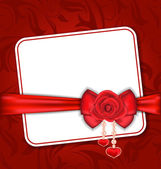 Beautiful card for Valentine Day with red rose and bow — Stock Vector