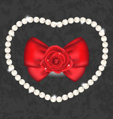 Red rose with bow and pearls for Valentine Day — Stock Vector