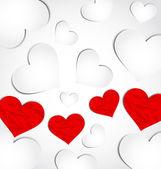 Fundo bonito para dia dos namorados com corações de papel — Vetor de Stock