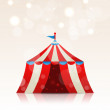 Stock Vector: Open circus stripe entertainment tent
