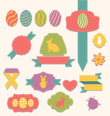 Easter scrapbook set - labels, ribbons and other elements (1) — Vettoriale Stock