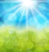Sunny natural background with lens flare — Stockvektor