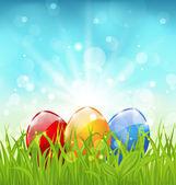 Sfondo di aprile con uova colorate di pasqua — Vettoriale Stock