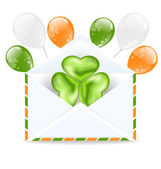 Envelope with clover and colorful ballons isolated on white back — Stock Vector