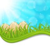 4 月背景与多彩的复活节彩蛋 — 图库矢量图片
