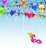 Carnival background with flags, confetti, balloons, mask — Stock Vector