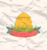 Vintage label with Easter egg — Stock Vector