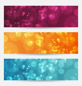 Set of abstract banners with bokeh effect — Stock Vector