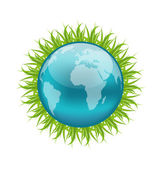 Icon earth with grass, environment symbol — Stock Vector