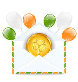 Envelope with golden coin and colorful balloons for St. Patrick' — Stock Vector