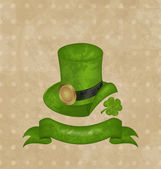 Green hat, clover, ribbon in saint Patrick Day — Stok Vektör