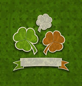 Holiday background with clovers in Irish flag color for St. Patr — Stok Vektör