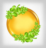 Golden coin with shamrocks. St. Patrick's day symbol — ストックベクタ