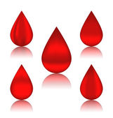 Set blood drops with reflections, different variation  — Stock Vector