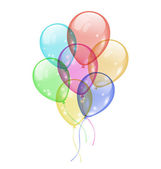Bunch colorful balloons isolated on white background — Stock Vector