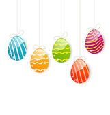 Coloridos huevos de pascua en fondo blanco — Vector de stock