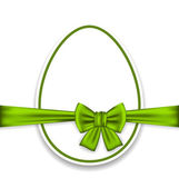 Easter celebration egg wrapping green bow — Vector de stock