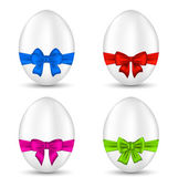 Easter set celebration eggs with colorful bows  — Stock Vector