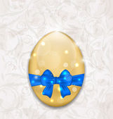 Easter glossy egg wrapping blue bow — 图库矢量图片