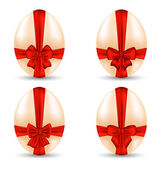 Easter set celebration egg wrapping red bow for your decoration — Stock Vector