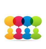 Kolorowy ludzie ikony dialogowego dymki — Wektor stockowy