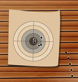 Shooting range target with bullet holes — Stock Vector