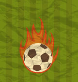 Retro football flyer with ball in fire flames — Stock Vector