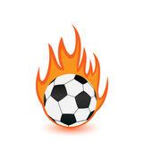 Football balls in orange fire flames — Stock Vector