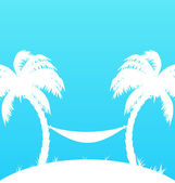 Tropical paradise background with palm trees and hammock — Vector de stock