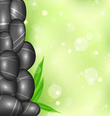 Spa background with bamboo leaves and stones — Vector de stock