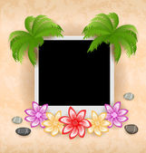 Illustration photo frame with palm, flowers, sea pebbles — Stock Vector