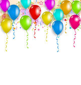 Set party balloons, confetti with space for text — Stockvector