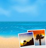 Set vacation beautiful beach photographies  — Stock Vector