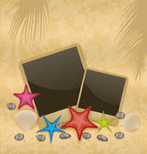 Sand background with photo frames, starfishes, pebble stones, se — Stock Vector