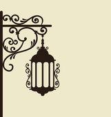 винтаж, ковка богато уличного фонаря изолированные — Cтоковый вектор