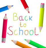 Back to school message with pencils on white background — Vector de stock
