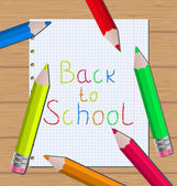 Back to school message with pencils on paper sheet background — Vector de stock