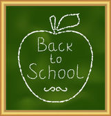 Back to school background with text and apple — Vector de stock