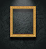 Picture frame on floral texture wall — Stock Vector