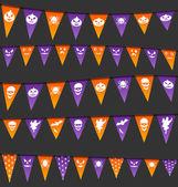 Halloween hanging flags with different symbols — Vecteur