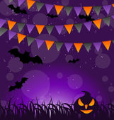 Fundo de Halloween com abóboras e pendurar bandeiras — Vetor de Stock