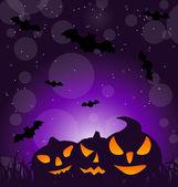 Halloween ominous pumpkins on moonlight background — Stock Vector