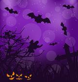 Halloween ominous background with pumpkins, bats, ghost  — Stock Vector