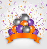 Halloween decoration with balloons, confetti and  ribbon — Vector de stock