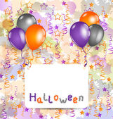 Halloween card with set colorful balloons and tinsel — Stok Vektör
